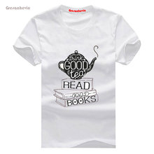 Drink Good Tea, Read New Fashion Man T-Shirt Cotton O Neck Mens Short Sleeve Mens tshirt Male Tops Tees Wholesale