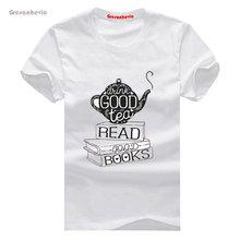 Drink Good Tea, Read New Fashion Man T-Shirt Cotton O Neck Mens Short Sleeve Mens tshirt Male Tops Tees Wholesale