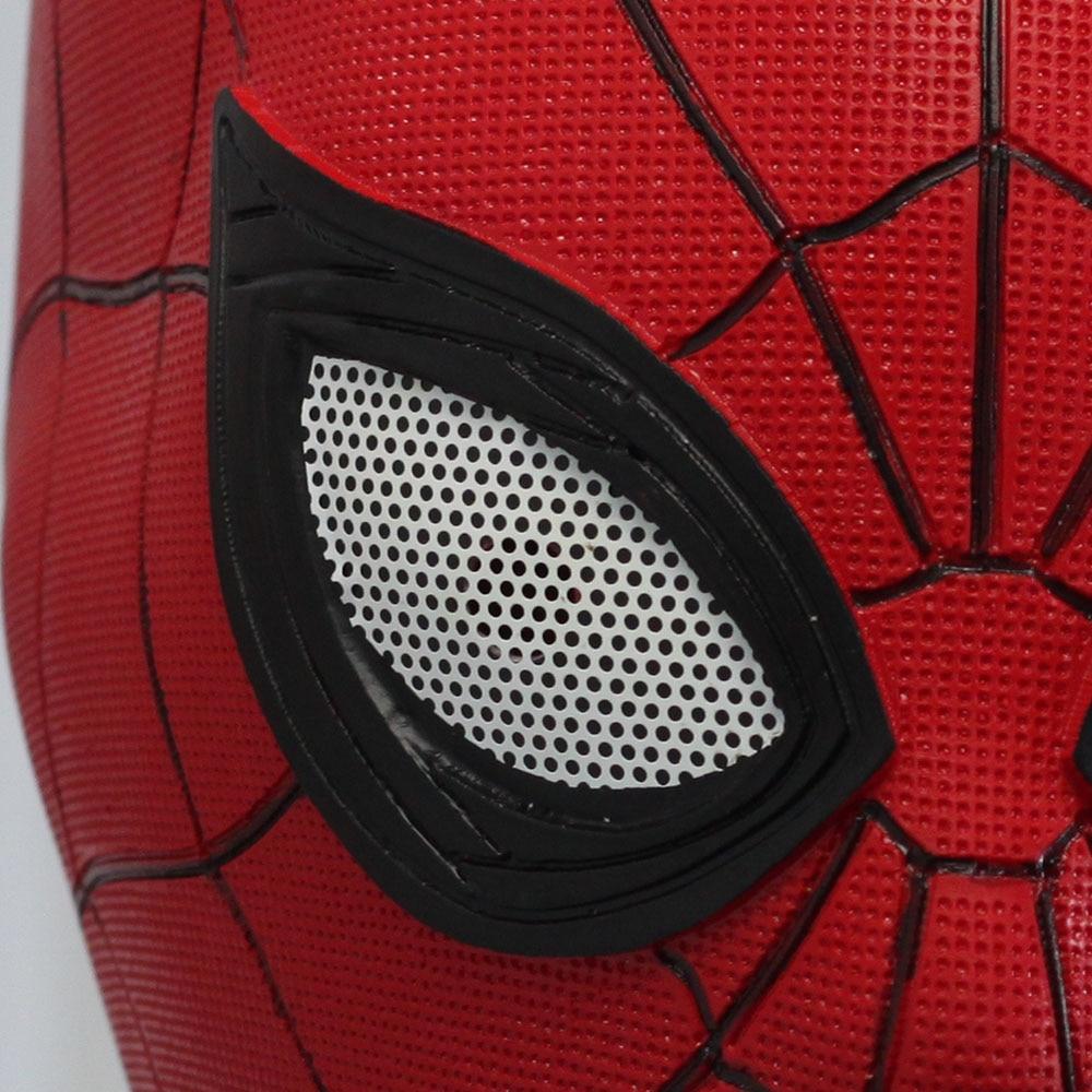 Купить с кэшбэком Superhero Spiderman Far From Home Mask In Red Cosplay  Latex Masks Helmet Peter Parker Halloween Costume Props