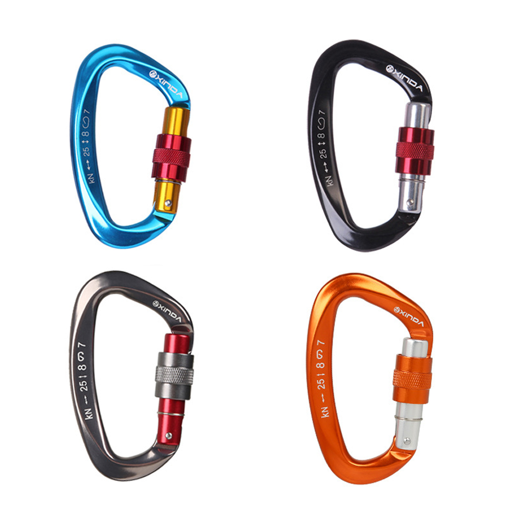 25KN  Carabiners Quickdraws D Shape Climbing Buckle Security Safety Master Lock Outdoor Rock Climbing Buckle Equipment