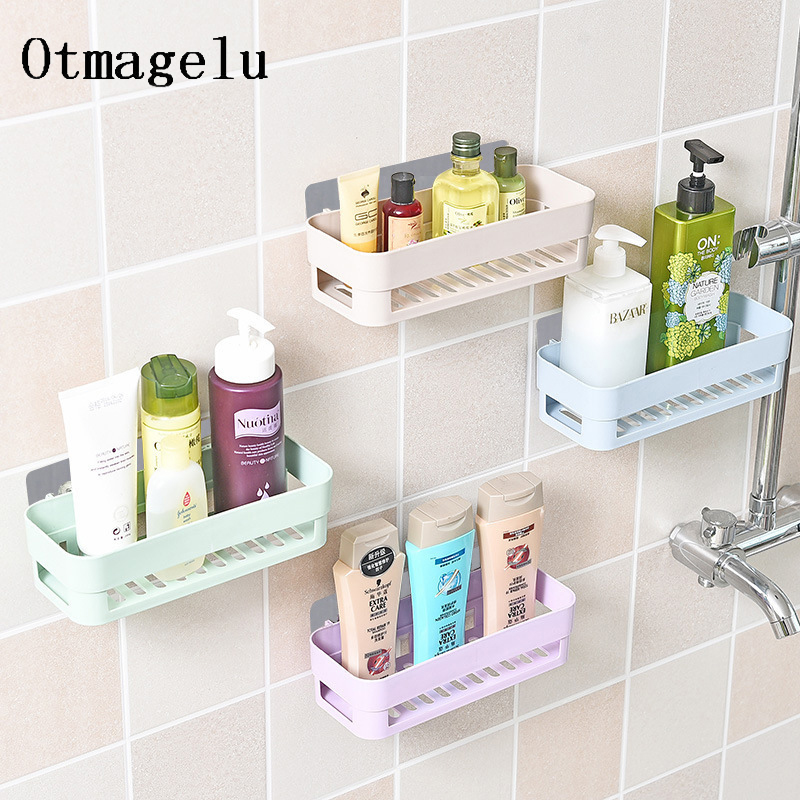 Home Bathroom Storage Rack Shower Shelf Plastic Home Decoration Free Punching Wall Mount Organizer Kitchen Bathroom Accessories