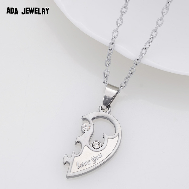 Silver Heart Couple Pendant Necklace