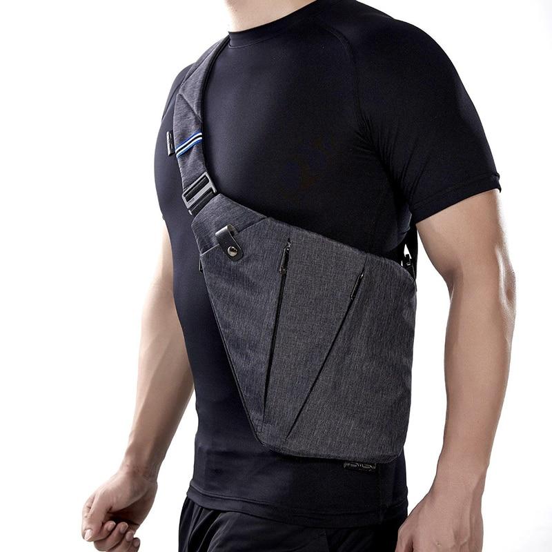 NewBring Black Single Shoulder Bags For Men Waterproof Nylon Crossbody Bags Male Anti-theft Chest Bag
