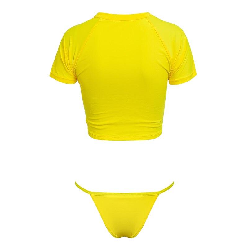 HTB1yHRoJ7KWBuNjy1zjq6AOypXaH Knot crop top bikini 2019 Leopard swimwear women bathers Yellow push up swimsuit female T-shirt thong bikini sexy bathing suit