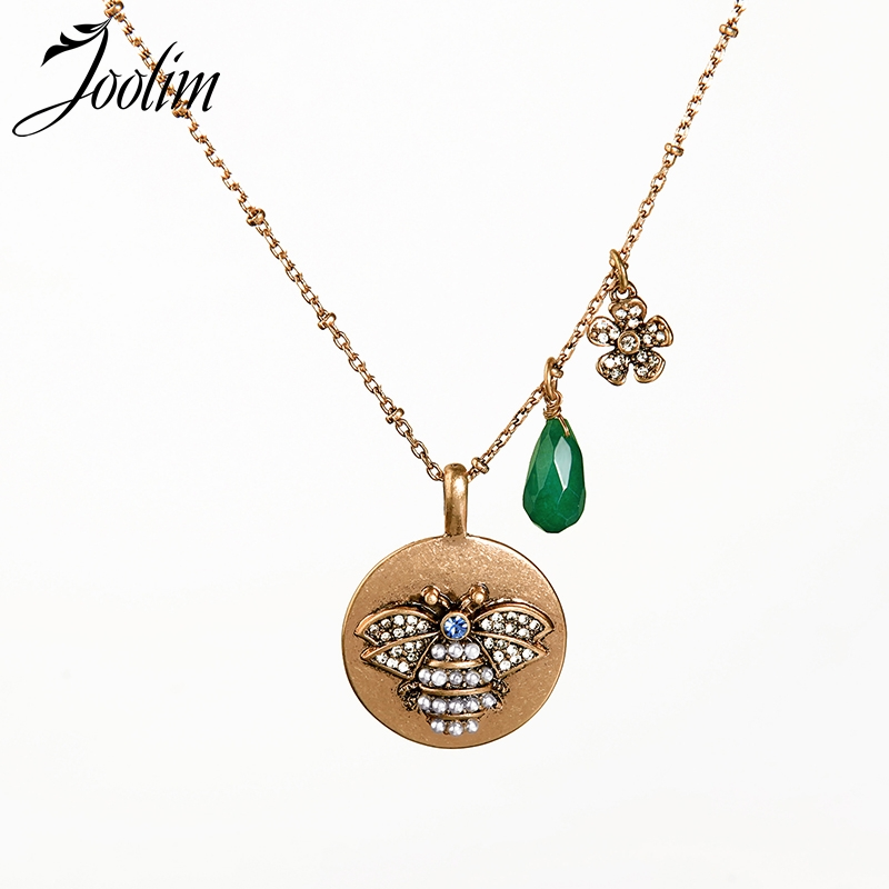 JOOLIM Retro Antique Gold Pearl Bee Pendant Necklace 2019 Spring & Summer Fashion Jewelry Wholesale