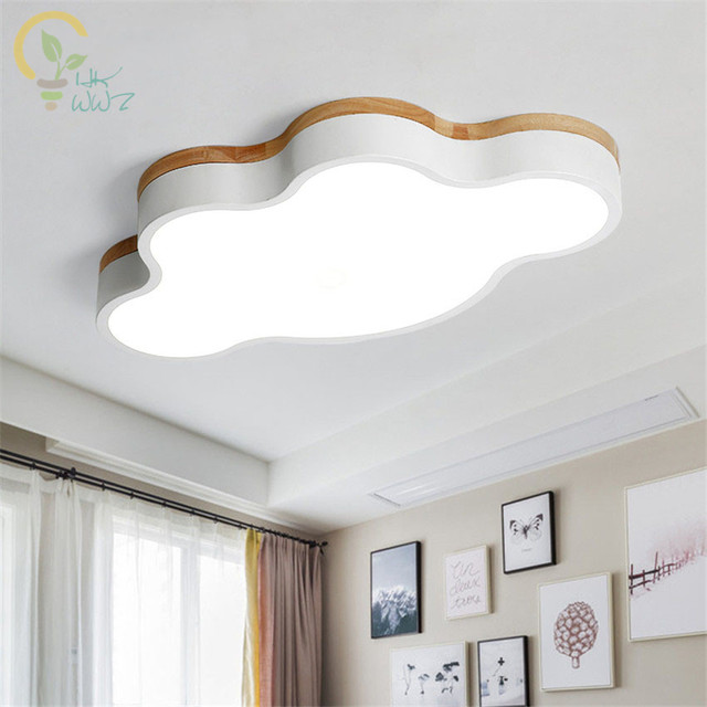 Clouds Shape Wooden LED Ceiling Lights With Remote Control Modern ...