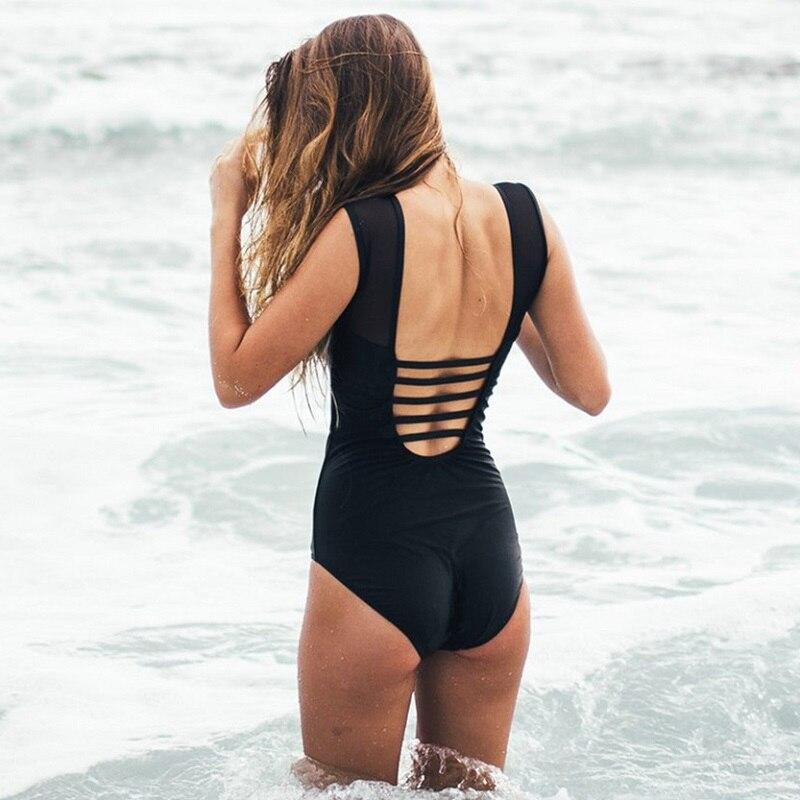 Black Solid Lily Flower Printed One Piece Swimsuit Sexy Mesh Backless Bandage Womens Swimwear 2018 Tankini Swimsuit Beach Wear