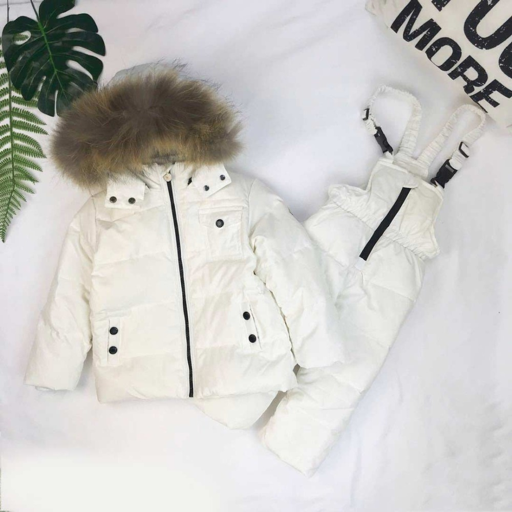 2018 new Winter Children Down Suit Solid White Duck Down Boys Girls Down Jackets Thickening Jacket + Pants Two piece Clothes стоимость