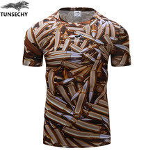 2017 New style fashion Brand men round collar short sleeve tight T-shirt 3D digital printing fitness compressed T-shirt