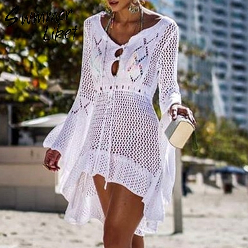 f31ae287ec ... beach sarong de plage. Cheap Cover-Ups, Buy Directly from China  Suppliers:New fashion knitted tunic dress