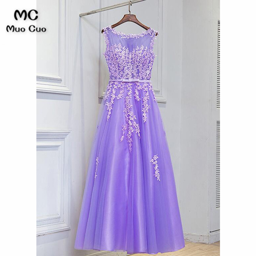 2018 Real Violet   Evening     Dress   with Appliques Vestido de festa longo Tulle long Formal   evening   Party   dresses   for women