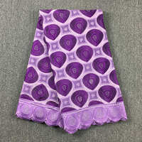 High Quality African Swiss Cotton voile lace 041 Lilac + Purple, (5 yards/pack), 100%cotton African Wedding Lace Dress