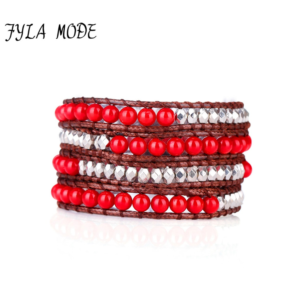 Fyla Mode High Fashion Hollywood 6mm Red Coral Beaded Immitation Leather Wrap Bracelet Handmade Hippie Bracelets
