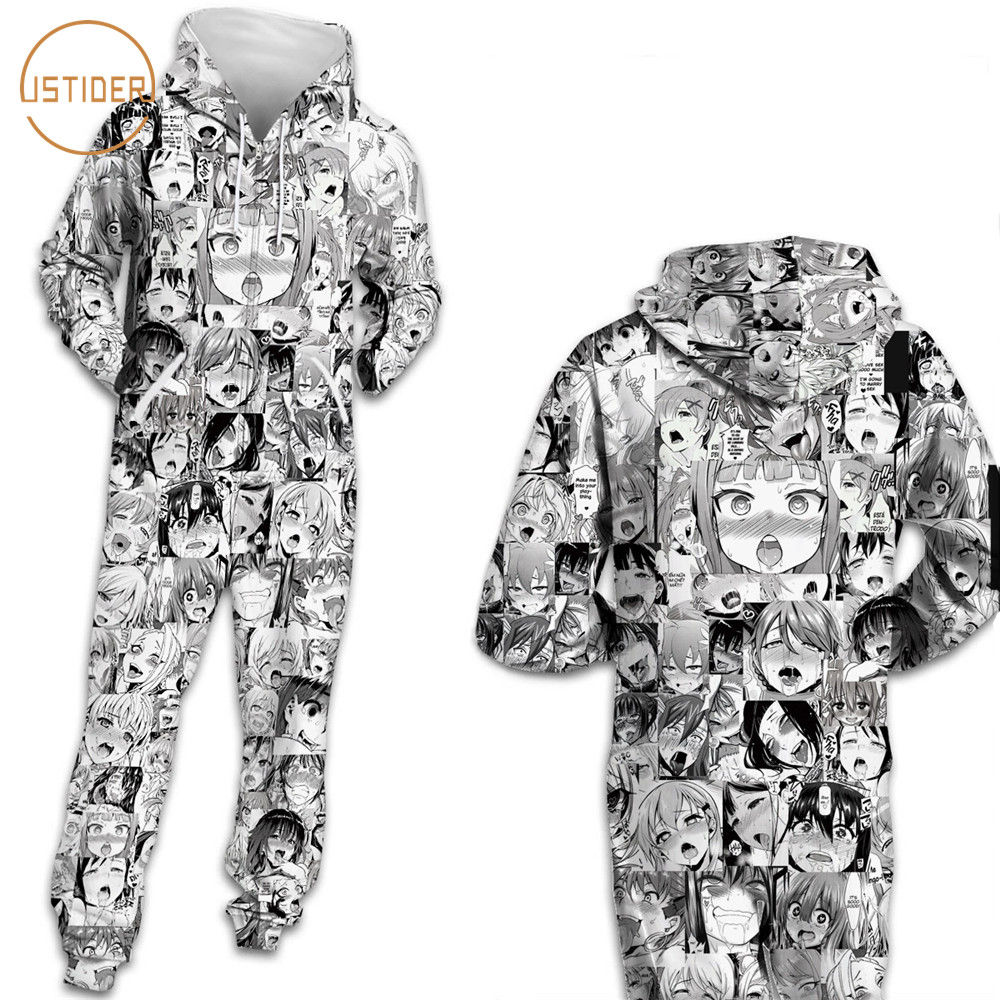 ISTider Harajuku Japanese Cartoon Comic Illustrations 3D Sweatshirt Jumpsuits Hooded With Pocket Zipper Playsuits Women Men