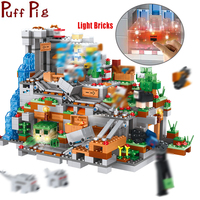 My World Village Mountain Cave Building Blocks Compatible Legoed Minecrafted Dragon Steve Figures DIY Bricks Toys for children