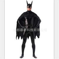 High Quality Black Superman Glue Zentai Suits Full Body One Piece Cosplay Bodysuit Latex Pvc Tights