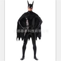 high quality Black Superman Glue Zentai Suits Full Body One Piece Cosplay Bodysuit Latex Pvc Tights Super hero Costume Halloween