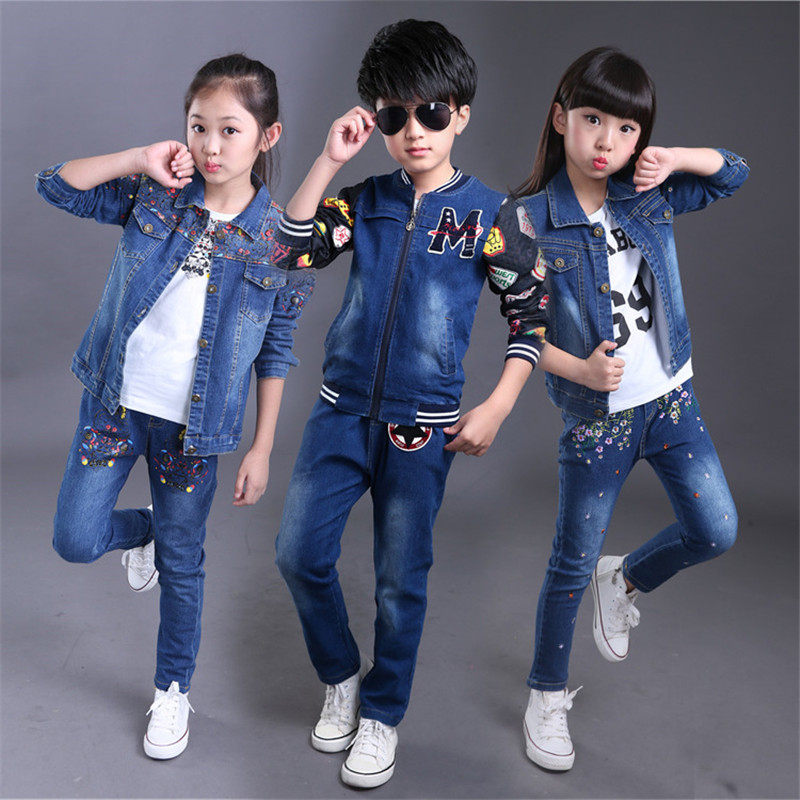 2016 New Spring Autumn Girls Boys Cowboy Clothing Set Children Branded Clothes Denim Jacket+Jeans Kids Fashion Infant Outfits new 2015 autumn winter fashion baby kids boys long sleeve shirt jeans denim trousers set outfits 1 6y