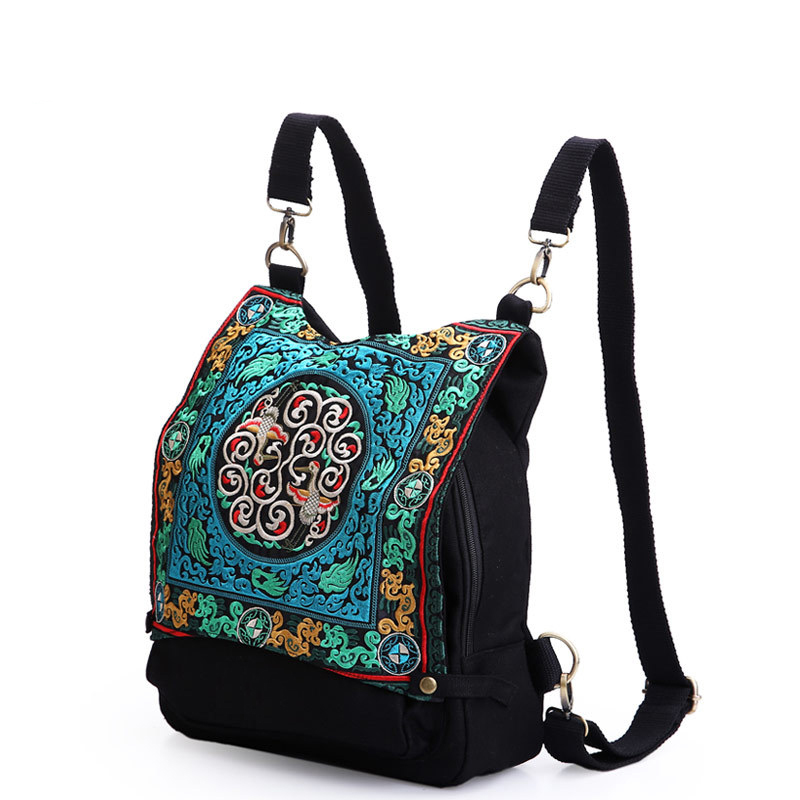 backpack female Embroidery Bags Portable Canvas Bag Women Travel Bags Ethnic Vintage Leisure women bags bolsos mujer sac a dos aosbos fashion portable insulated canvas lunch bag thermal food picnic lunch bags for women kids men cooler lunch box bag tote