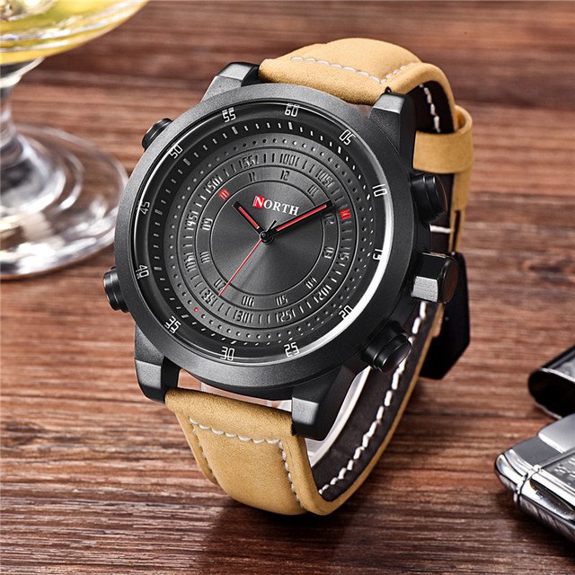 2018 NORTH Brand Design Fashion Men Quartz Wristwatch LED Waterproof Sport Men Watch Military Clock Business Relogio Masculino