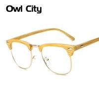 aaf42db390a25 Marca Óculos Ópticos Quadros Homens Mulheres Metade Aro Limpar Lens Armação  de óculos de Miopia Armações