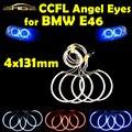 4x131mm CCFL Angel Eyes Halo Anéis Kit Farol Decoração Cabeça Cor da lâmpada Azul Branco Vermelho para BMW E46 E39 E38 E36