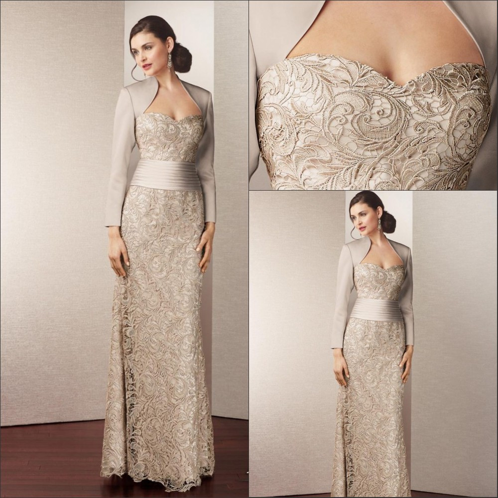Custom Made Satin Lace Long Elegant Mother Of Bridemaid Dresses With Jacket 2015 Plus Side Women Dress For Wedding
