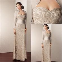 На заказ атласное кружево Длинное Элегантное платье для матери платья подружек невесты с жакетом плюс боковое женское платье для свадьбы