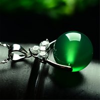 Women Silver Green Ball Bead Jade Gemstone Pendant Necklace Jewelry Gift Natural