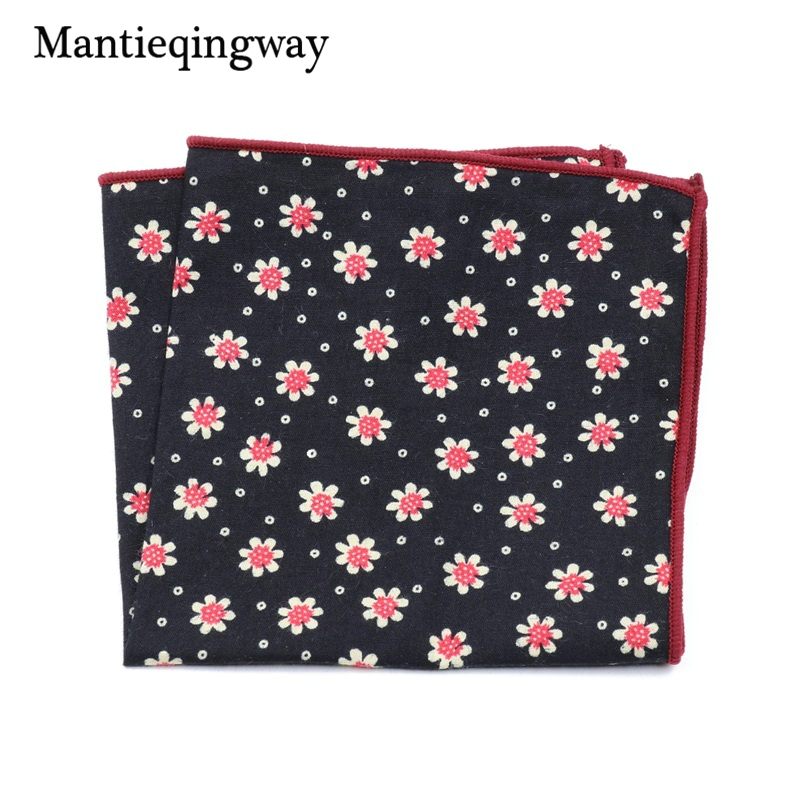 Mantieqingway Cotton Printing Men's Suit Pocket Towel Handkerchief Fashion Prints Men Formal Wear Business Small Square Hanky