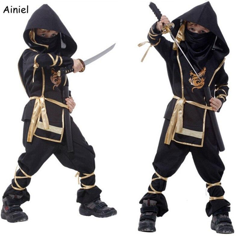 Ainiel Kids Ninja Costumes Halloween Party Boys Girls Warrior Stealth Children's Day Cosplay Assassin Costume