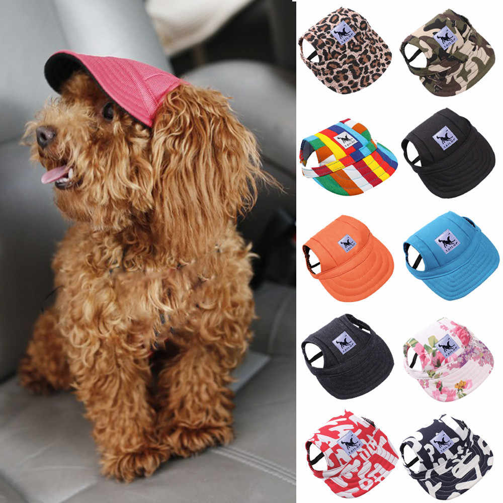 a753ad1c091 Dog Hat With Ear Holes Summer Canvas Baseball Cap For Small Pet Dog Outdoor  Accessories Hiking