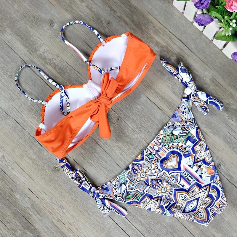2019 New top sexy solid swimwear push up bikini bandage sport suit high cut bathing suit bandeau swimsuit women bikini set 2507