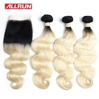 Allrun 613 Blond Black Root Brazilian Body Wave Human Hair Weaves non remy 613 Bundles with Closure 2/3/4 Bundle deals Extension