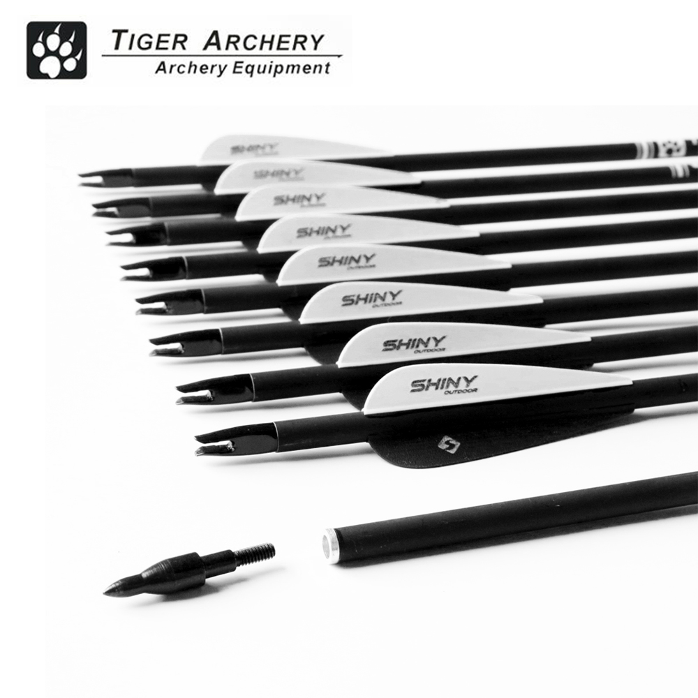 12pcs Carbon Arrow Spine500 with Black Feather for Recurve Bow Arrow or Compound Bow Practice Target And Hunting Arrow цена