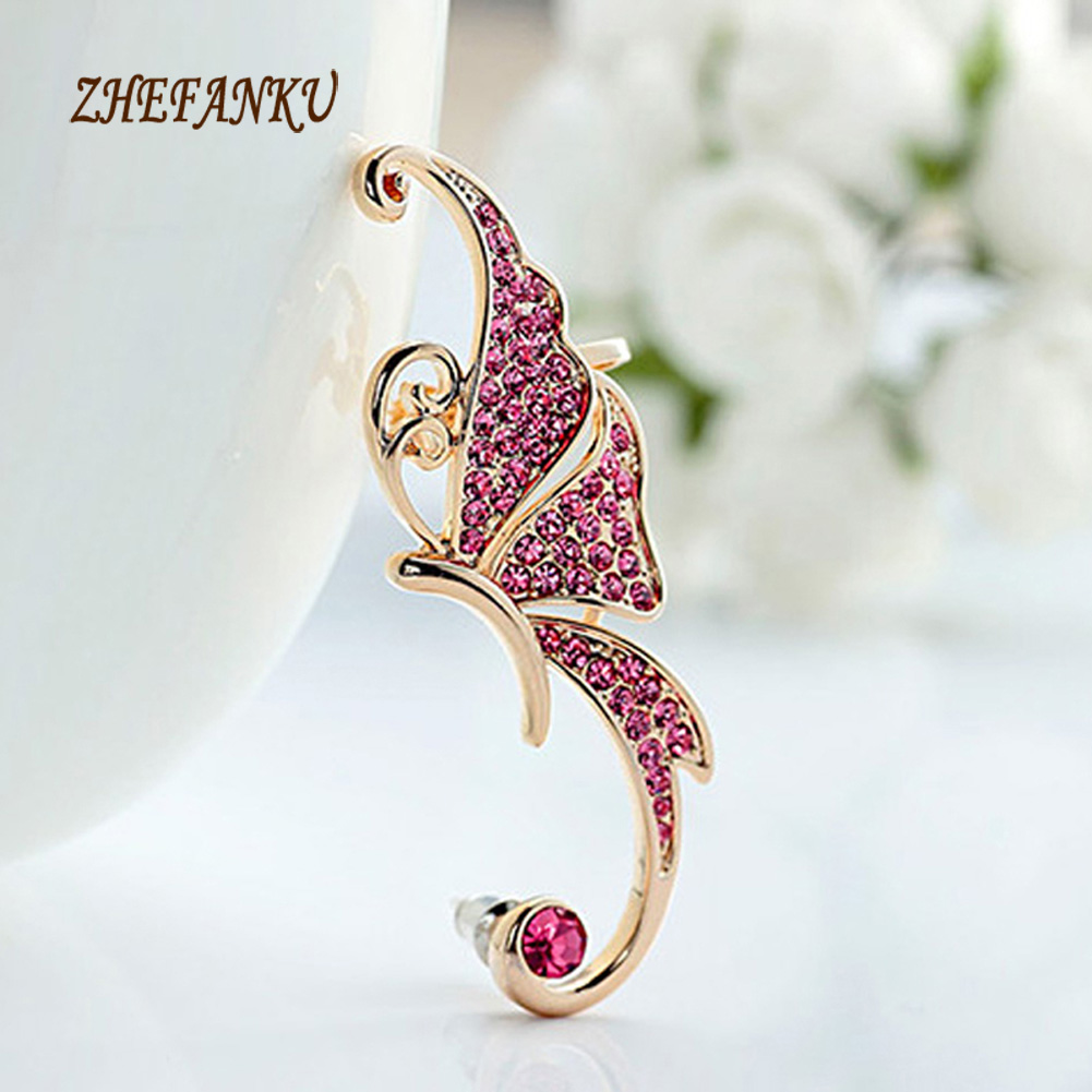 1 Piece Trendy Lovely Inlaid Crystal Butterfly Shaped Woman Ear Clip Jewelery Accessories