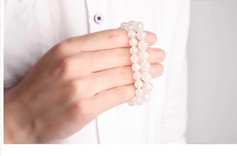 Naturalny biały chalcedon ręcznie zroszony Stretch Strand bransoletka kobiety energii zdrowotnej mężczyźni wisiorek w stylu Vintage biżuteria kochanka