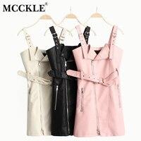 MCCKLE PU Leather Sleeveless Black Women Dresses V Neck Mini Sexy Spring Casual Dress Sashes Zipper