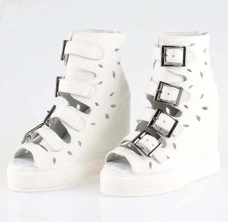 2016 new arrival high quality gladiator wedge high heels shoes sandals women elevator fashion cutout buckle platform summer boot