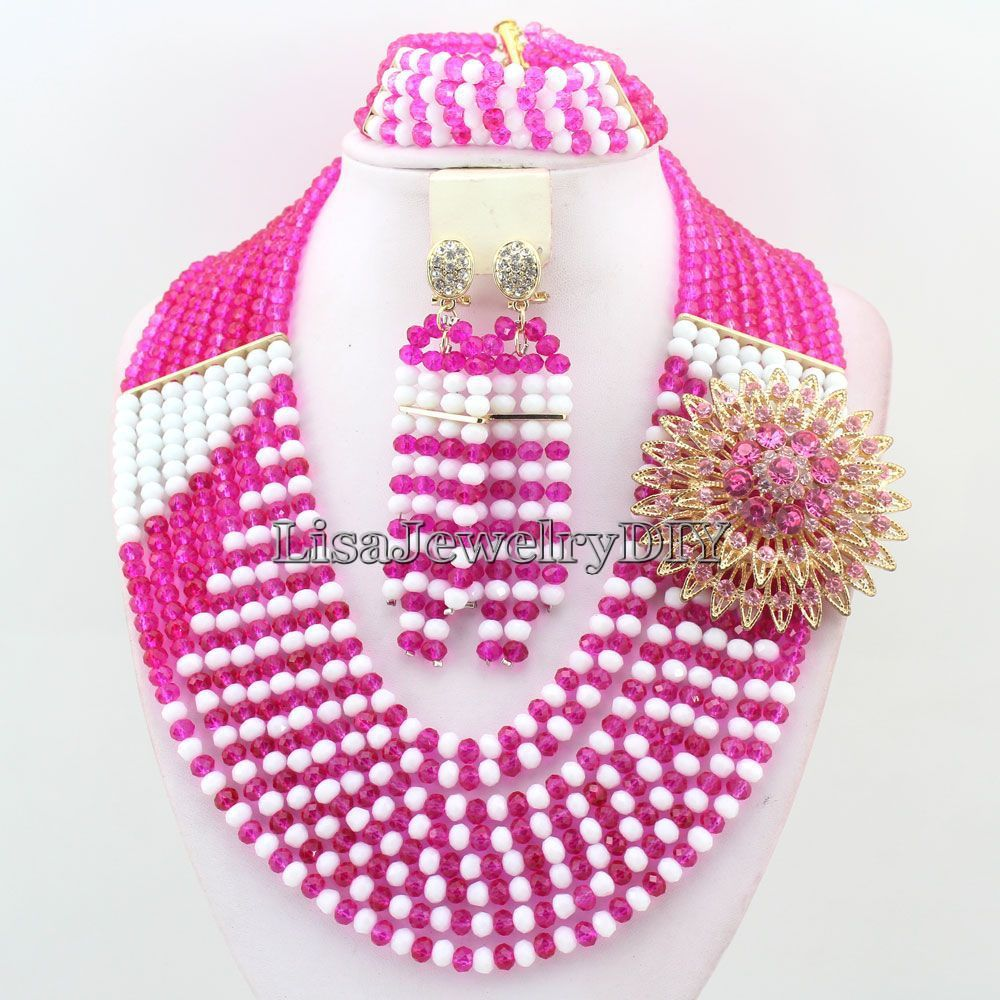 Beautiful African Beads Jewelry Sets Crystal Necklace Set Nigerian Wedding Necklace Earrings Set HD3992 beautiful set