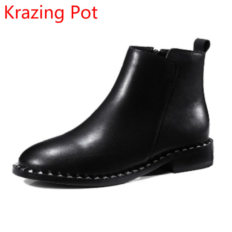 2018 Superstar Cow Leather Keep Warm Round Toe Slip on Chelsea Boots Thick Heels Punk Handmade Winter Ankle Boots for Women L35 fashion genuine leather chelsea boots handmade keep warm winter boots round toe thick heels concise ankle boots for women l08