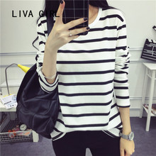 2017 fall New Stripe bottoming shirt loose student long sleeve T-shirt