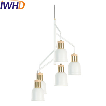 IWHD Iron LED Pendant Lights Fashion 5 Heads Modern Hanging Lamps For Living Room Bedroom Restaurant Kitchen E27 220v For Decor iwhd 3 heads iron hang lights led pendant light fixtures fashion wood modern pendant lamp kitchen bedroom e27 220v for decor