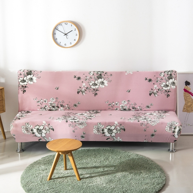 Polyester Flowers Couch Sofa Covers Armless Universal Stretch Bed Past Elegant Slipcovers