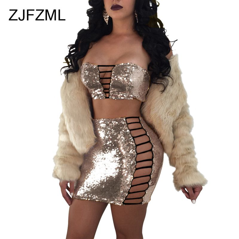 ZJFZML Sequin Strapless Nightclub Party <font><b>2</b></font> <font><b>Piece</b></font> <font><b>Set</b></font> Dress <font><b>Women</b></font> <font><b>Sexy</b></font> Sleeveless Lace Up Short Top and Mini Bandage Dress image