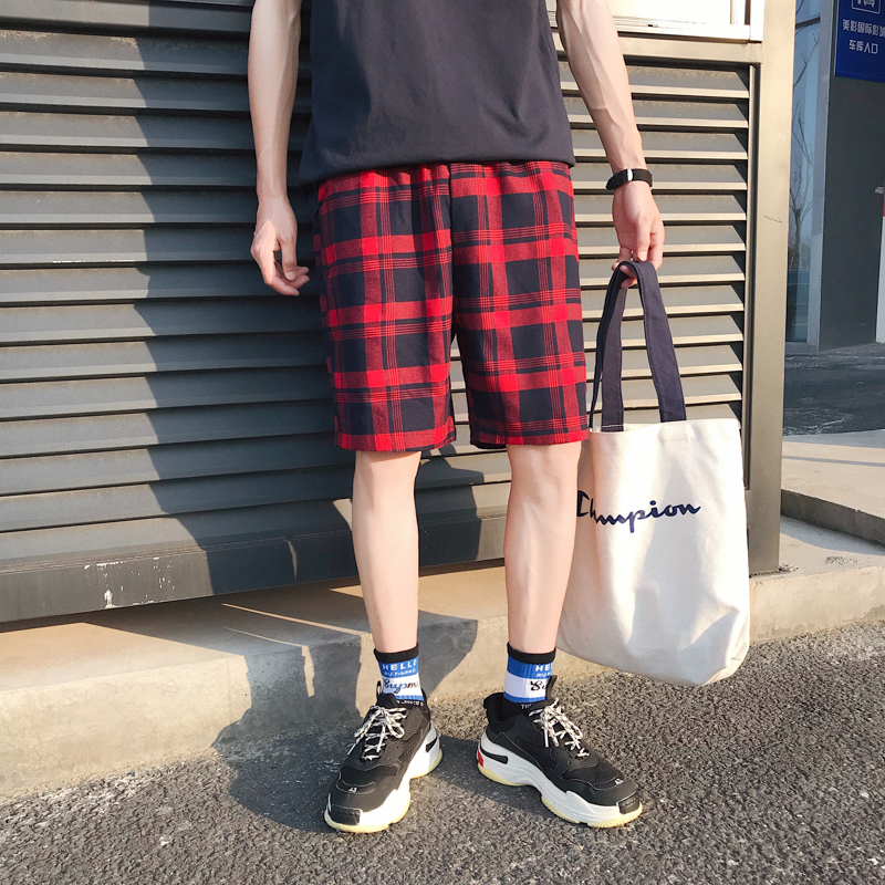 2018 Summer New Men Fashion Tide Lattice Elastic Waist Short Trousers Loose Casual Plaid Red/Blue/Yellow/Green Shorts S-2XL