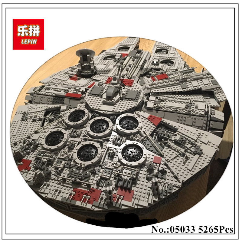LEPIN 05033 5265pcs  Star Ultimate Collector's Millennium Wars Falcon Model Building Kit Blocks Bricks Toy Compatible 10179 Gift lele 5265pcs star wars ultimate collector s millennium falcon model building kits blocks bricks toys for children gift 10179