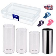 Гитарные слайды, набор включает в себя 3 размера стеклянную горку, 1 шт. горку из нержавеющей стали и 4 шт. пластиковые палочки для большого пальца и пальца с pl