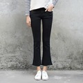 Street Style 2017 New Design Spring Casual Skinny Flare Pants Side Stripe High Waist Black Jeans Denim Pants Spring Long Pants