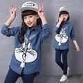 Осень новый Корейский мода девушки свободные случайный мультфильм пальто лацкан мультфильм джинсовая куртка девушки одежда джинсовая рубашка куртка